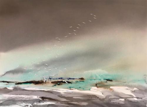 50 x 70 - Nordisk landskab med fugleflok (1)